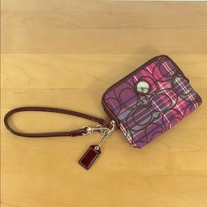 Coach ❤️ Tartan Plaid Wristlet Wallet Clutch Bag
